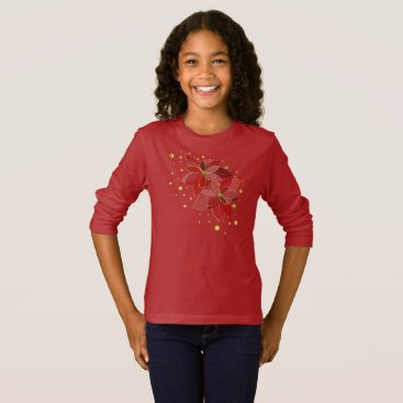 USA Themed Red poinsettia flowers christmas shirt long sleeve