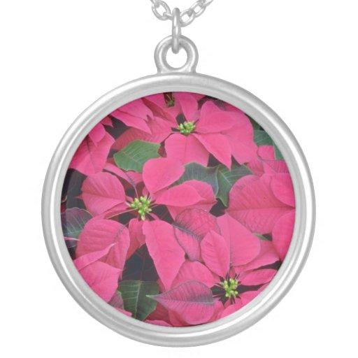 Red poinsettia flowers custom jewelry