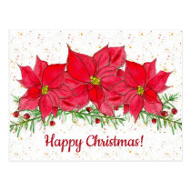 Red Poinsettia Flowers Happy Christmas Postcard