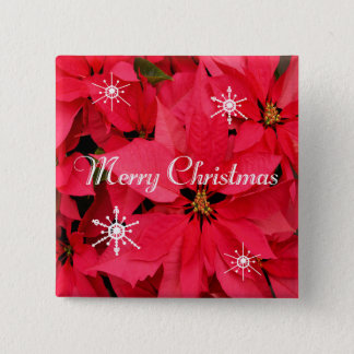 Red Poinsettia Flowers Merry Christmas Snowflakes Pinback Button