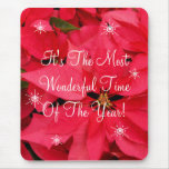 Red Poinsettia Flowers Snow Flakes Christmas Mouse Pad