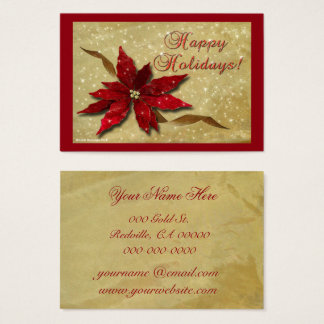 Red Poinsettia Gold Business Card