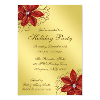Red Poinsettia Gold Swirls Holiday Party Card