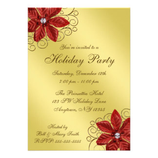 Red Poinsettia Gold Swirls Holiday Party Custom Announcements