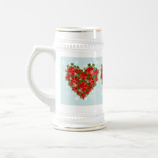 Red Poinsettia Heart And Snowflakes Christmas 18 Oz Beer Stein