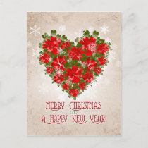 Red Poinsettia Heart And Snowflakes Christmas Holiday Postcard