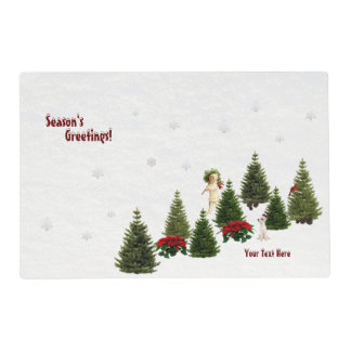 Red Poinsettia Hi Gloss Laminated Paper Placemat 2