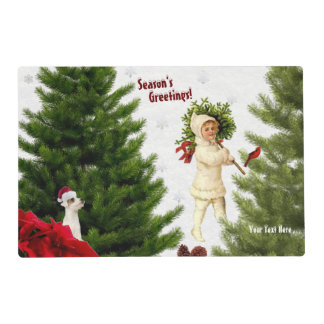 Red Poinsettia High Gloss Laminated Paper Placemat