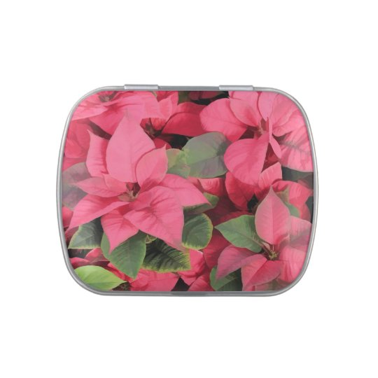 Red Poinsettia Jelly Belly Tin