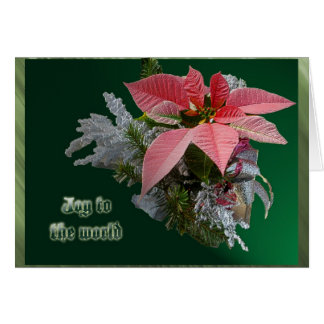 Red Poinsettia Joy to the World Christmas Card