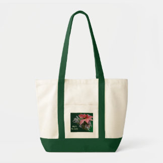 Red Poinsettia Joy to the World Tote Bag