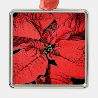 Red Poinsettia Metal Ornament