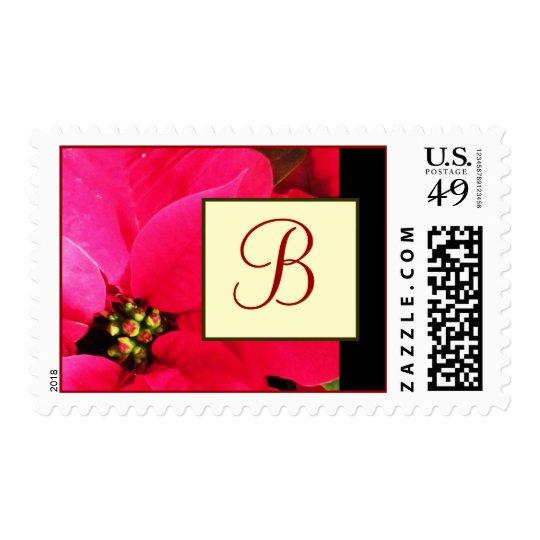 Red Poinsettia Monogram Postage Stamps