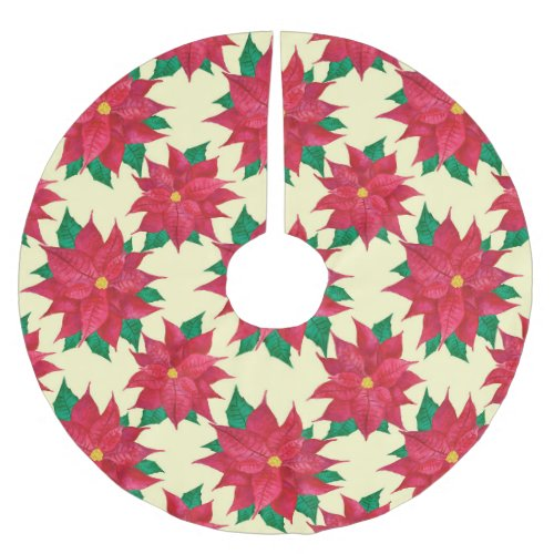 Red Poinsettia Pattern Brushed Polyester Tree Skirt