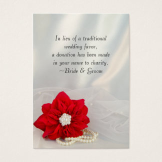 Red Poinsettia Pearls Winter Wedding Charity Favor Business Card