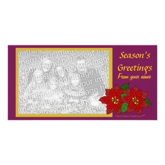 Red Poinsettia Photo Card Template (wine gold)