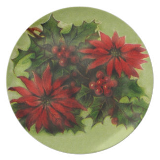 red poinsettia plate