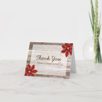 Red Poinsettia Rustic Barn Wood Thank You