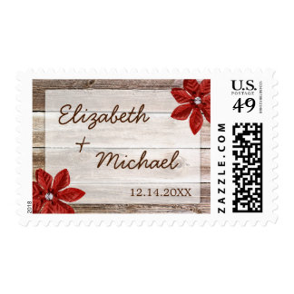 Red Poinsettia Rustic Barn Wood Wedding Stamps