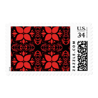 Red Poinsettia Style Floral Christmas Stamp