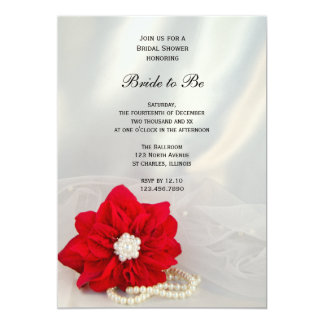 Red Poinsettia White Pearls Winter Bridal Shower Card