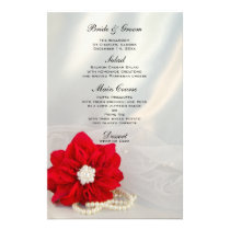 Red Poinsettia White Pearls Winter Wedding Menu