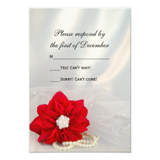 Red Poinsettia White Pearls Winter Wedding RSVP Card