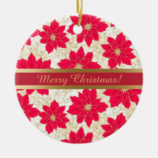 Red Poinsettia with gold swirls Season's Greetings Ceramic Ornament