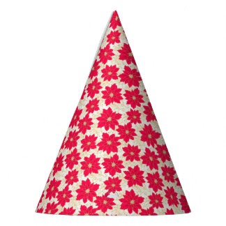 Red Poinsettia with gold swirls Season's Greetings Party Hat