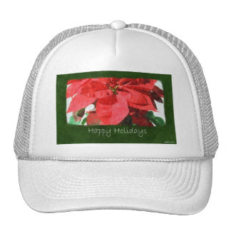Red Poinsettias 1 - Happy Holidays Mesh Hats