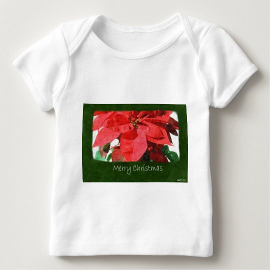 Red Poinsettias 1 - Merry Christmas Baby T-Shirt