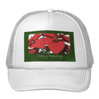 Red Poinsettias 2 - Happy Holidays Hats
