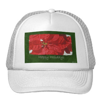 Red Poinsettias 3 - Happy Holidays Hats