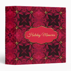Red Poinsettias Abstract 3 Binder