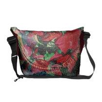 Red Poinsettias Emboss Messenger Bag