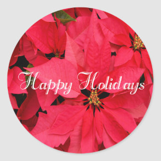 Red Poinsettias Flowers Floral Happy Holidays Classic Round Sticker