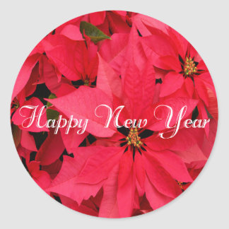 Red Poinsettias Flowers Floral Happy New Year Classic Round Sticker