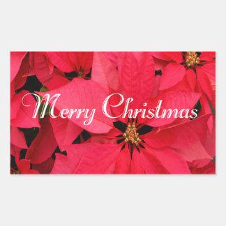 Red Poinsettias Flowers Floral Merry Christmas Rectangular Sticker