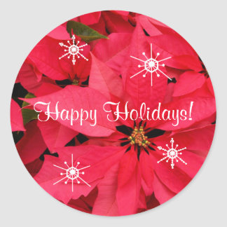 Red Poinsettias Flowers Happy Holidays Snow Flakes Classic Round Sticker