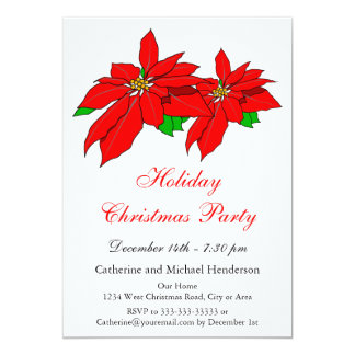 Red Poinsettias Flowers Holiday Christmas Party Card