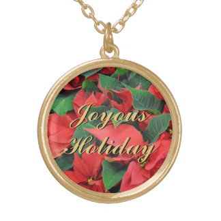 Red Poinsettias Gold Plated Necklace