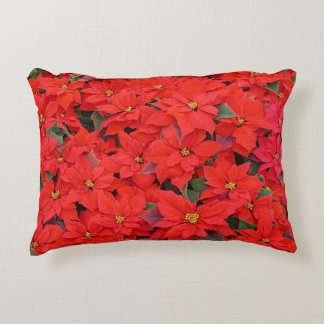Red Poinsettias Holiday Accent Pillow