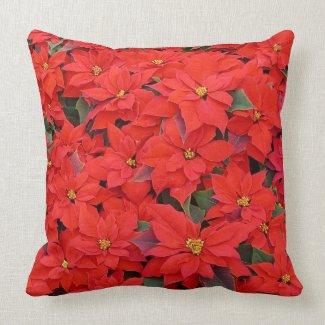 Red Poinsettias Holiday Throw Pillow