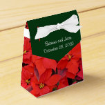 Red Poinsettias I Christmas Holiday Floral Favor Box