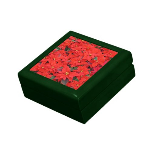 Red Poinsettias I Christmas Holiday Floral Keepsake Box