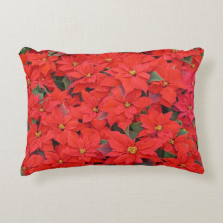 Red Poinsettias I Christmas Holiday Floral Photo Accent Pillow