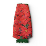 Red Poinsettias I Christmas Holiday Floral Photo Bottle Cooler