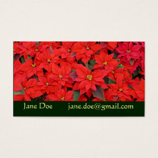 Red Poinsettias I Christmas Holiday Floral Photo Business Card