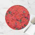 Red Poinsettias I Christmas Holiday Floral Photo Cake Stand