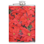 Red Poinsettias I Christmas Holiday Floral Photo Flask